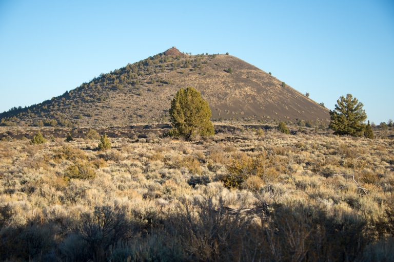 Schonchin Butte, which has a fire lookout on the top that was built during the Depression.