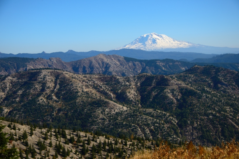 Mt Adams is visible on much of the highway on your way to Mt Saint Helens